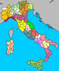 mapa de las provincias de italia