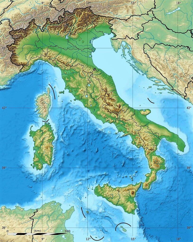 mapa de italia fisico