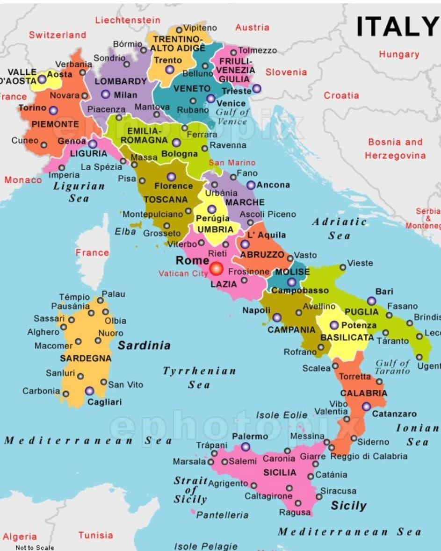 Mapa de Italia físico y político