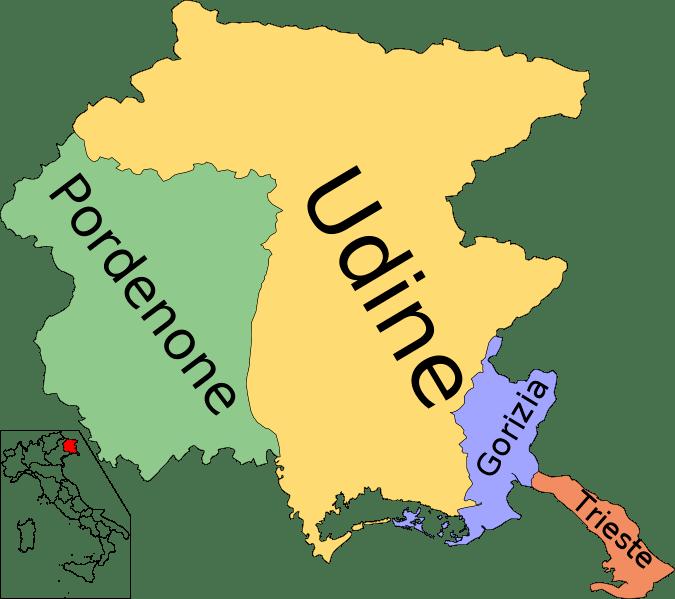 Mapa de Friuli–Venezia Julia