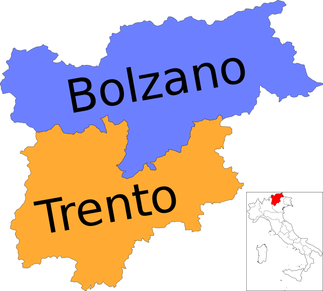 Mapa de Trentino-Alto Adigio