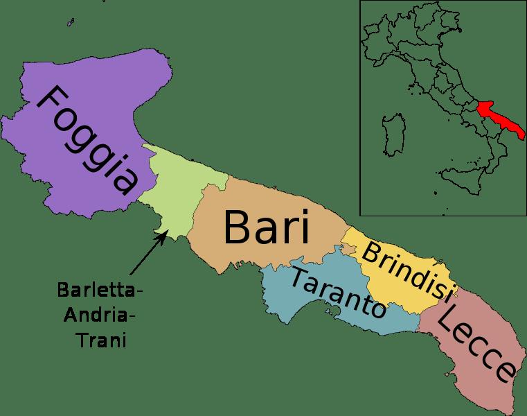 Mapa de Puglia