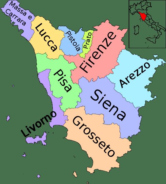 Mapa de la Toscana